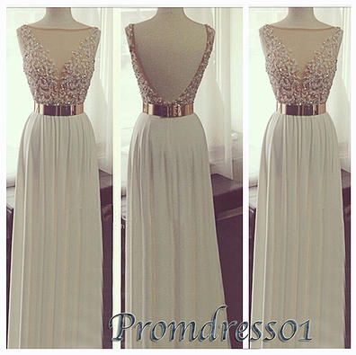 prom dresses - cute backless creamy white chiffon long prom dress for teens, custom made ball gown for season 2015: Long White Prom Dress, Cream Prom Dress, Military Ball Dress, Ball Gowns, Military Ball Gown, Long Prom Dresses, Backless Prom Dress, Promd