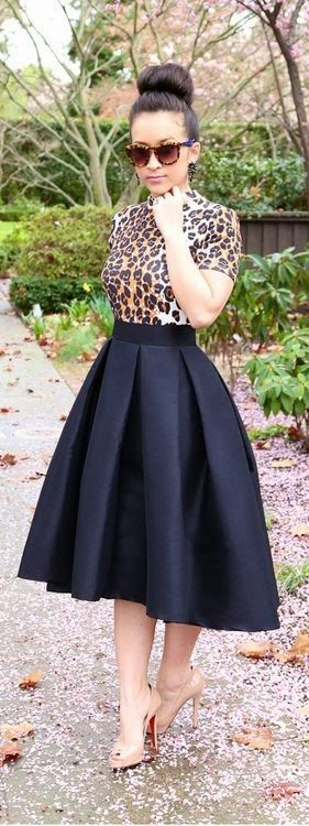 black midi skirt, a different top for sure but this would be perfect for almost everything!: Midi Skirts, Leopard Print, Style, Dress, Outfit, Animal Prints, High Low