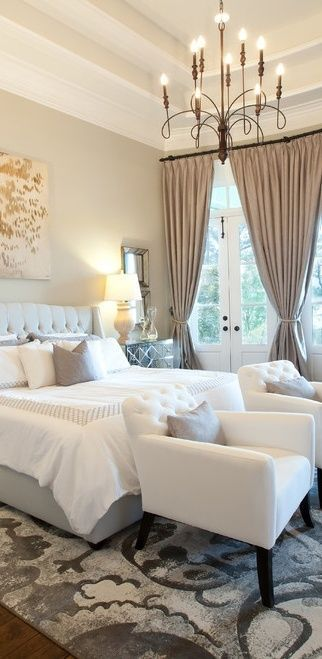 I would love to replace our current window with French doors! Love the chandelier, rug, chairs, bedding, all of it!!! So cozy and romantic!!: Interior, Masterbedroom, Bedroom Design, Master Bedrooms, White Bedroom, Beautiful Bedrooms