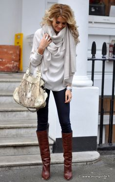 Love her outfit.: Falloutfit, Style, Fall Outfits, Winter Outfit, Fall Fashion, Winter Fashion, Brown Boots, Scarf, Fall Winter