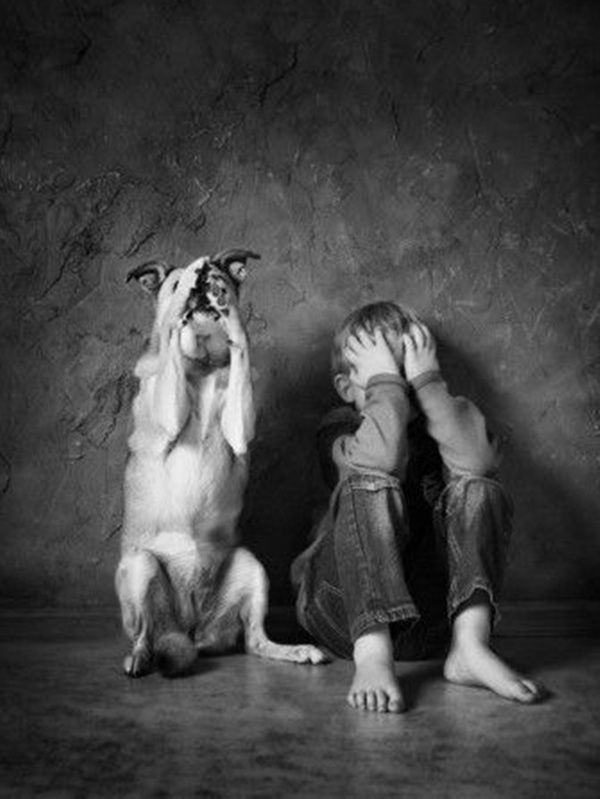 peekaboo by Justyna Garczyk- Kleszcz: Photos, Animals, Dogs, White, Photography, Black, Justyna Garczyk, Friend, Kid