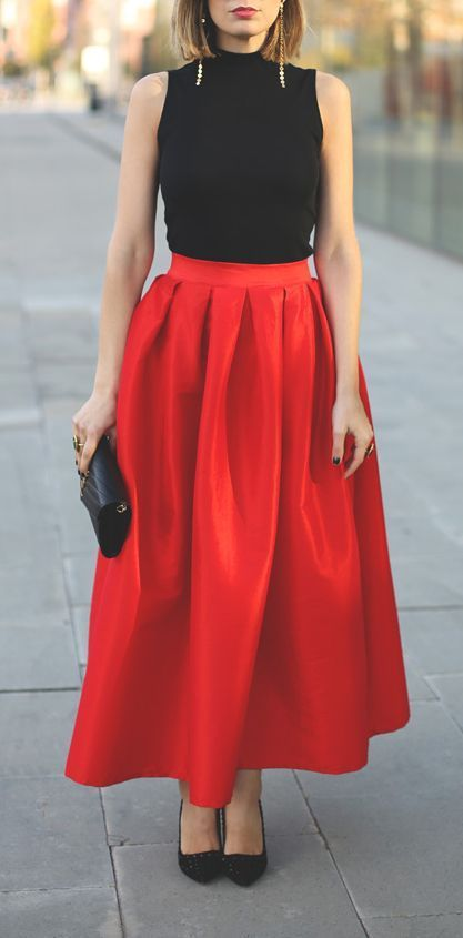 Pleated Maxi Full Skirt in Red: Fashionista, Street Style, Outfit, Styles, Red Tulips, Tulip Skirt