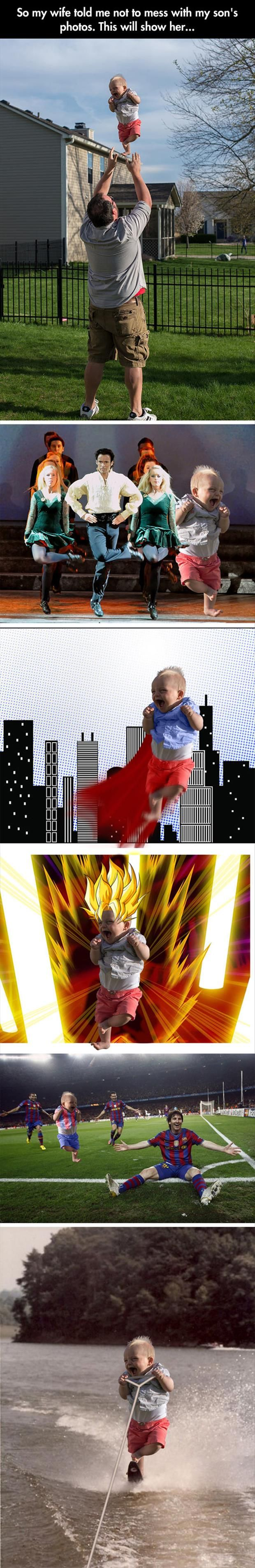 """So my wife told me not to mess with my son's photos..."" LOL: Son S Photos, Funny Pictures, Funnypictures, Sons, Dad Photoshops, Funny Stuff, Baby"