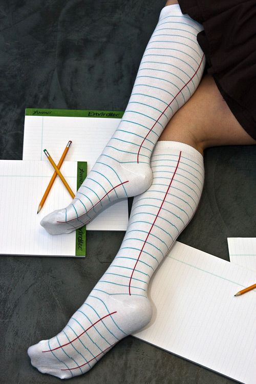 Ashi Dashi Notebook Knee Highs  these have a rather subtle theme that could easily be overlooked but still so fun, also why not do one paper sock & one pencil sock, super nerdy fun: Notebook Socks, Paper Sock, High Socks, Notebooks, Knee Socks, Pencil