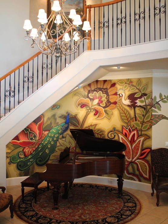 Beautiful peacock mural painted by Ali Kay.  Wow I should do this to my wall.  This looks like my curved wall below bannister.: Ideas, Interior, Feature Wall, Beautiful, Wall Art Murals Wallpaper, House, Decorative Painting, Peacock, Design