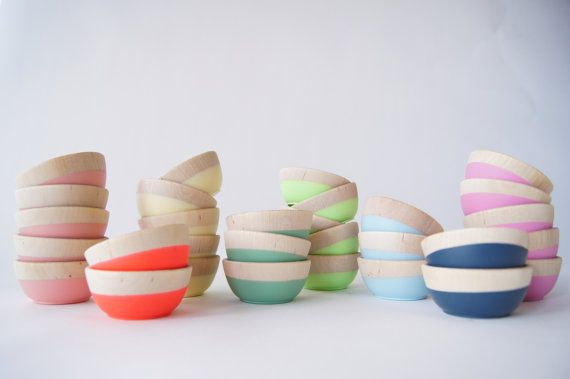 Gorgeous handmade wooden bowls on Etsy. Colors makes us so happy.: Ideas, Wooden Bowls, Inspiration, Color, Kitchen, House, Diy