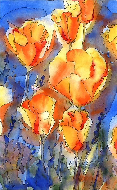 Poppy Watercolor Print orange and white poppy art by AlisaPaints: Orange, Art Watercolor, Watercolor Print, Poppies Watercolor, Poppy Watercolor, Alisa Wilcher, Poppies Art, Painting
