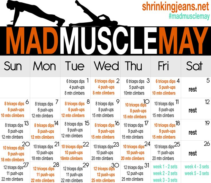 """""""MAD MUSCLE"""" May workout calendar ~ working out your ARMS for sure!  (check out the list of other workout calendars here: http://shrinkingjeans.net/category/move-it/monthly-workout-calendar/): Monthly Challenge, Mad Muscle, Arm Workout, Fitness, W"""