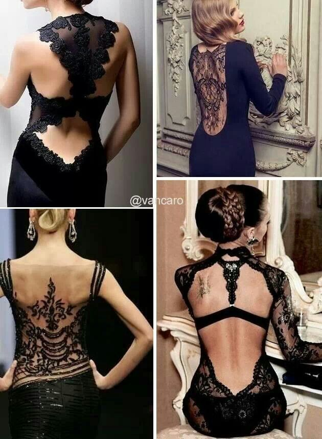 Black dress ♥♥♥ Sexy!!! Hot!!! Love the lace and detail!: Fashion, Inspiration, Backless Dresses, Black Dresses, Style, Backless Black, Black Lace Dresses, Lace Back Dresses, Back Less Dresses