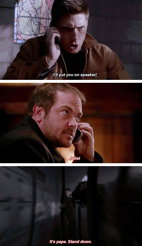 [gifset] 9x21 King Of The Damned #SPN #Dean #Crowley  Click through, there's some interesting reading, though no one mentions the fact that Crowley has a hell hound named Juliet(which amuses me to no end.).: Crowley Funny Supernatural, Pet, Hell Hound