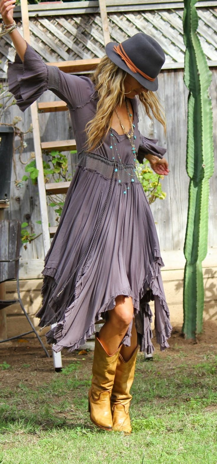 Love this dress and the boot combo. So cute!: Boho Fall Outfit, Bohemian Style Outfit, Gypsy Outfit, Bohemian Outfit, Bohemian Fall Outfit, Boho Dress
