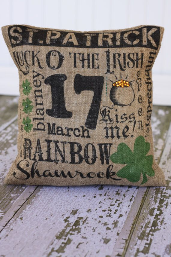 St Patrick's Day Subway Art Pillow cover by MonMellDesigns on Etsy, $24.00: St. Patrick'S Day, St Patty, St Patrick'S Day, St Patricks