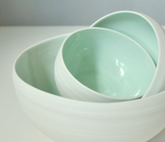 Three Piece Organic Porcelain Nesting Bowl Set in Sea Foam Green and Modern Unglazed White: Pastel, Mint Green, Nesting Bowls, Color, Seafoam, Ceramic, Kitchen