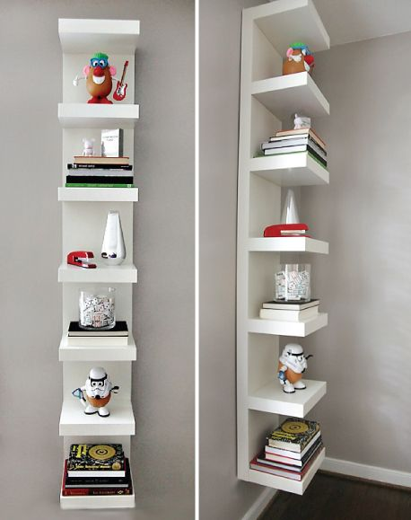 awesome use of the glossy white ikea lack shelf unit, priced at $49 and hung vertically here to give some height to the room and a nice minimal and clean storage option for books and other objets: Lack Shelf, Decor, Bookshelves, Ideas, Bookshelf Wall, Ike