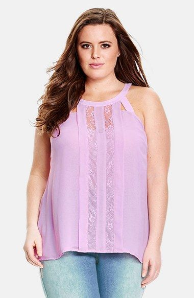City Chic Lace Panel Top (Plus Size) available at #Nordstrom: Tops, Plus Size, Lavender Lace, Size Fashion, Size Lace, Size Fierceness, Panel Top, Chic Lace