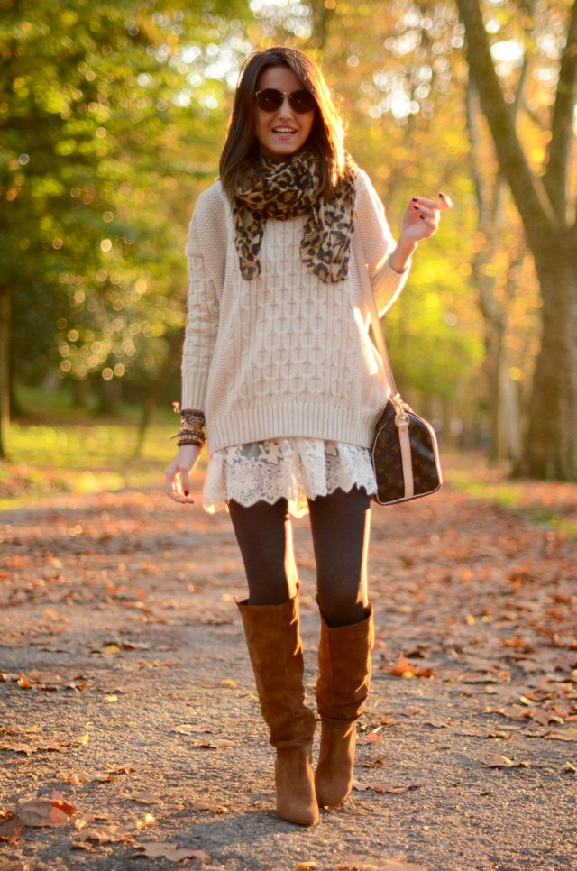 Loving this look for fall. All about the oversized sweater and leggings with a cute boot. #comfy #casual: Fall Style, Winter Outfit, Fall Outfit, Fall Fashion, Lace Skirt, Thanksgiving Outfit, Fall Winter