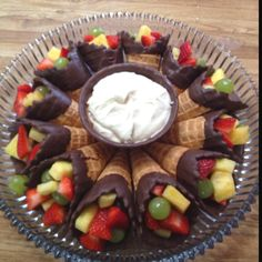 My mom made this for pinterest party! She added the fruit dip bowl to the fruit cone recipe she found!: Fruit Salad, Chocolate, Recipes, Party Idea, Fruit Dips, Waffle Cones, Dessert, Party Food, Fruit Cones