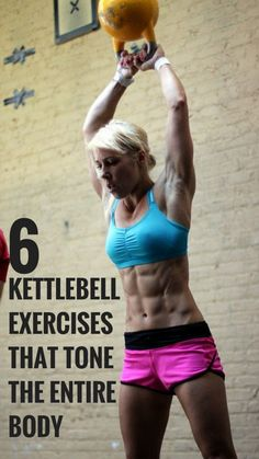 Only 6 kettlebell exercises for a full body workout. #fitness #workout #health #strenght
