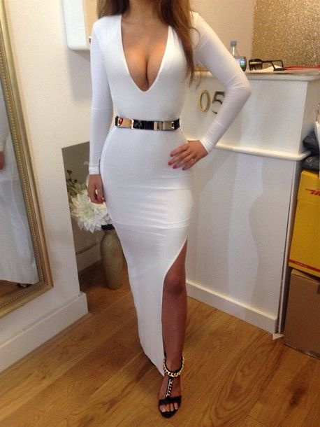 Outfit: Women S, Maxi Dresses, Fashion, Sexy Dresses, Style, Outfit, Long Sleeve, White Dress, Side Slit
