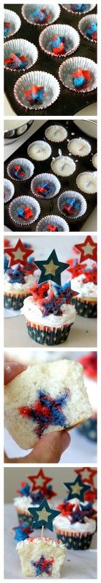 Patriotic Cupcakes with a surprise inside from MomDot: Patriotic Cupcakes, Cakes Redwhiteblue, July4Th Cupcakes, Cakes Cupcakes Recipes Ideas, Red White And Blue Cupcakes, Inside Cupcakes, Cupcakes Desserts