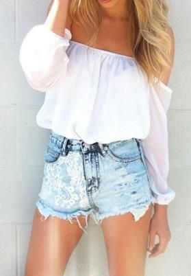 Springy/Summery: Short, Fashion, Tops, Style, Clothes, Chiffon Top, Summer Outfits, Shoulder Top, White Top