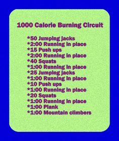 There's no way this is 1000 calories! Running burns the most calories per minute but you still have to run 10 miles(an hour of running) to burn 1000 calories: 1 000 Calorie, Fitness, 500 Calorie Workout, Cardio Workout, Exercise, 1000 Calorie Workout,