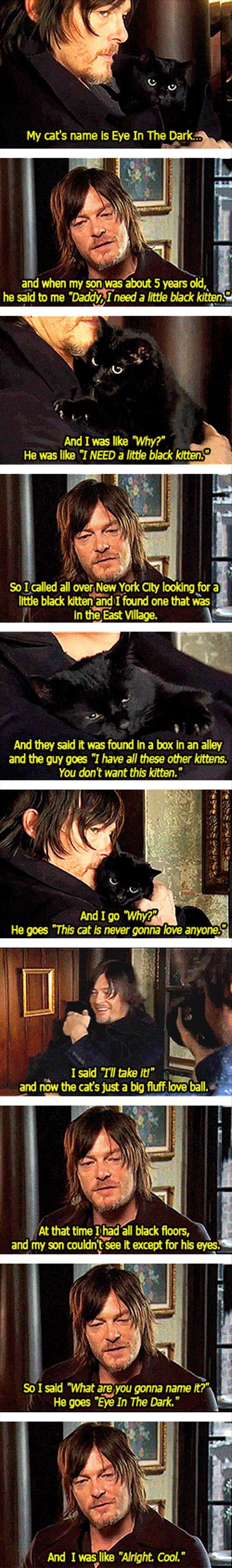 Aww: Cat Eye, Daryl Dixon, Norman Reedus, Normanreedus, Funny Pictures, Black Cats, Walking Dead