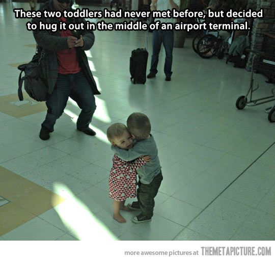 cute-toddlers-hugging-airport/ Thank goodness that little guy didn't get arrested for sexual harassment!: Humanity Restored, Sweet, Hug, Funny, Things, Kids, Smile, Photo