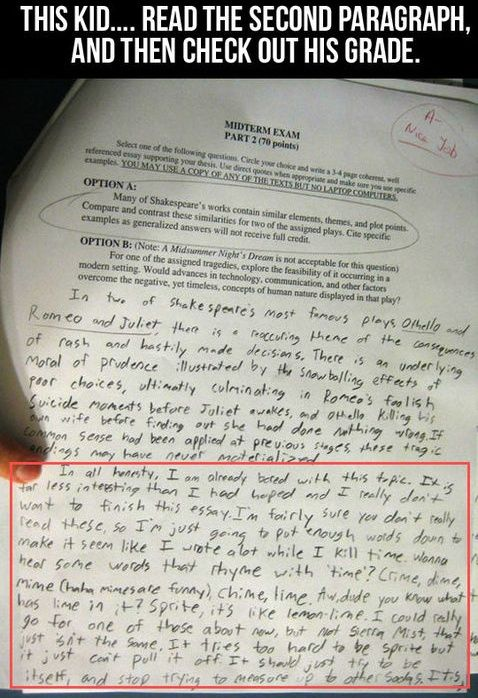 Essay Exam, this makes me laugh, I always wondered if they really read the whole essay...: Giggle, English Teacher, Funny Stuff, Funnies, Humor, Things, Kids, High Schools