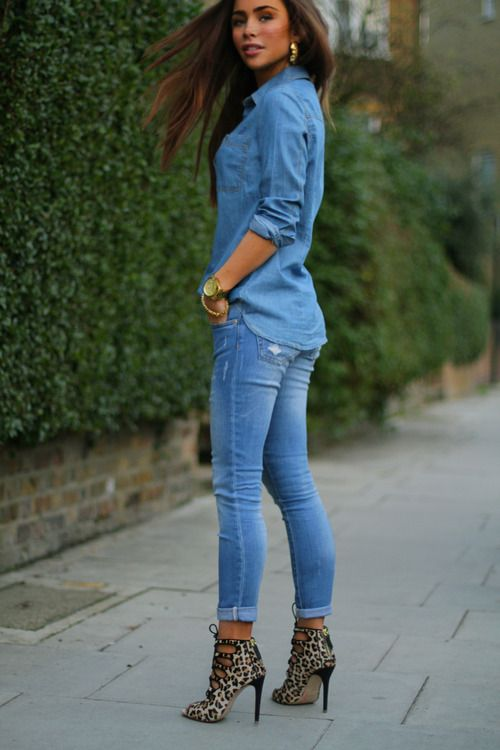 Fabulously feminine outfit! all #denim with #leopard: Shoes, Fashion, Denim Outfit, Street Style, Jeans, Styles, Leopard