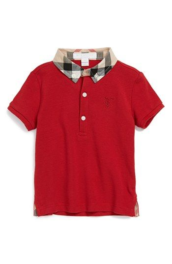 Burberry 'William' Cotton Polo (Baby Boys) available at #Nordstrom: Boy S Burberry, Babies, Infant Boys, Baby Clothes, Baby Boys, Burberry William, Cotton Polo