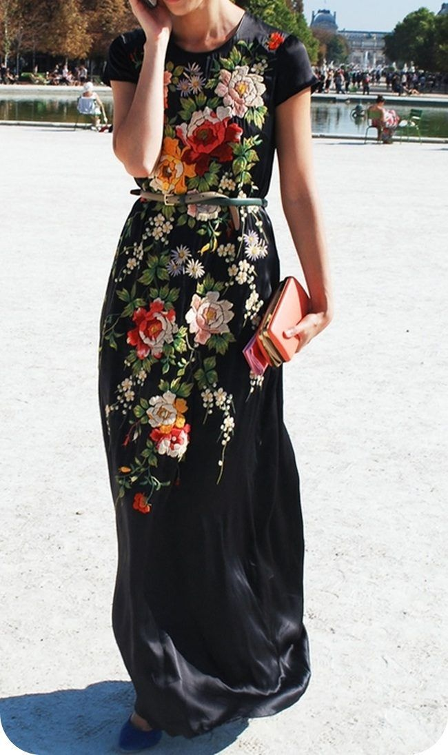 Embroidered floral maxi - gorgeous. I've got a shirt with a big embroidered floral pattern and I love it: Floral Maxi, Maxi Dresses, Fashion, Style, Maxidress