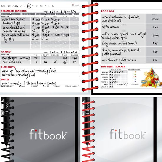 #fitbook - fitness + nutrition journal review by fitsugar - we love that is shows both the red or white option available for the cover and the great daily pages!   www.getfitbook.com: Weight Loss Inspired Gifts, Gifts For Fitness, Daily Workouts, Daily Fi
