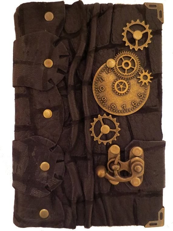Handmade steampunk vintage antique victorian clock gears time travel crocodile pattern luxury black leather journal notebook sketchbook on Etsy, $74.99: Handmade Steampunk, Leather Notebooks, Black Leather, Leather Journals, Sketchbooks, Victorian Clock,