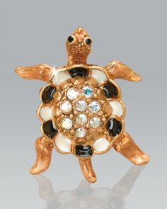 Turtle with Pave Shell Tack Pin by Jay Strongwater at Neiman Marcus.