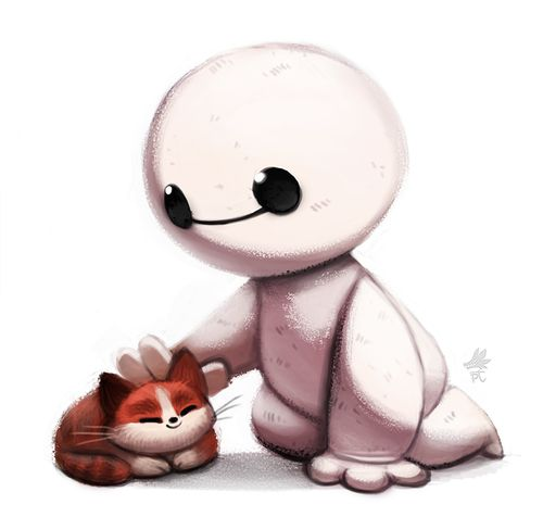 Big Hero 6-Chibi Baymax and the hairybaby cat. My heart.....just can't take it.: Fan Art, Furry Baby, Disney Pixar, Baby Baymax, Awwww Baymax, Bighero6, Hairy Baby, Big Hero 6, Baby Cat