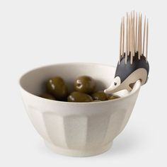 Kipik Toothpick Holder by Erwan Péron. I love that this little guy can perch on bowls or just sit pretty on a table. Perfect for parties!: Kitchen Gadgets, Ideas, Gift, Stuff, Hedgehog Toothpick, Design