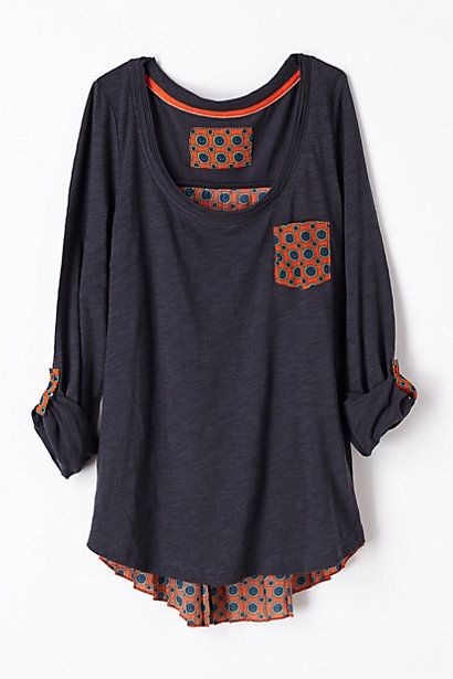 Perfect casual top to throw on with jeans and still be fashionable. Even looks long enough for my long torso.: Cute Tee, Mixed Material Top, Accordion Tee, Auburn Shirt, Cute Shirt, Comfortable Dress