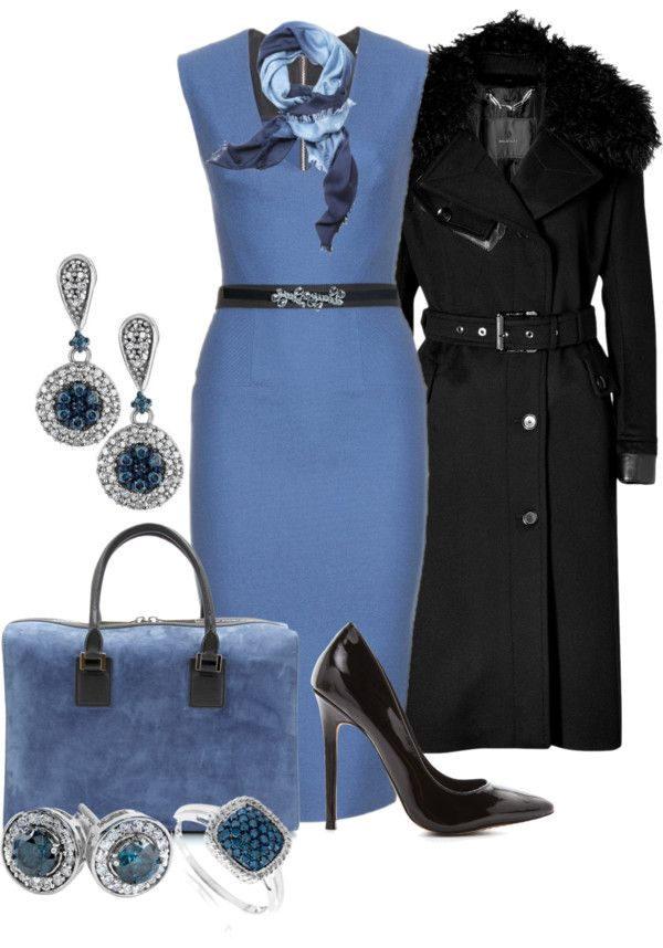 """Black and Blue"" by christa72 on Polyvore: Work Clothes, For Women, 50S Fashion, 50 Fashion, Fashion Black, Work Outfits, Coat"