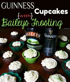 Guinness Chocolate Cupcakes with Baileys Cream Cheese Frosting