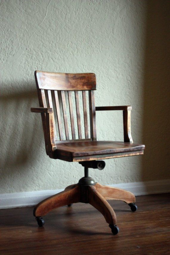 I love this old-timey Desk chair -- so cool looking. If I could find one I bet it'd be too expensive.: Wooden Desk Chair, Desks, Vintage Office Chair, Office Chairs, Desk Chairs