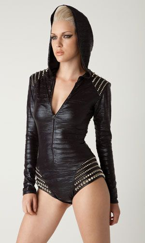 Mad Max meets Kylie's hooded jumpsuit! Love this idea for Burning Man - add some fierce goth boots to stomp around in!: Hooded Bodysuit, Hooded Trashbag, Style, Rompers, Trashbag Romper