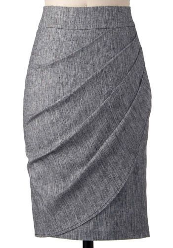 Moonlighting Skirt. Asymmetrical is the new black, and this demure skirt will help get you the on-trend look.  #modcloth: Asymmetrical Skirt, Flattering Skirt, Modcloth Outfit, Gray Pencil Skirt, Grey Pencil Skirt