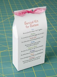 Sister Survival kit. This is such a cute idea my daughter is making one for her sister. This homemade gift is a good idea for a birthday or christmas etc. It is sweet but also maybe the strangest gift you will ever get given. The whole point of tis gift i