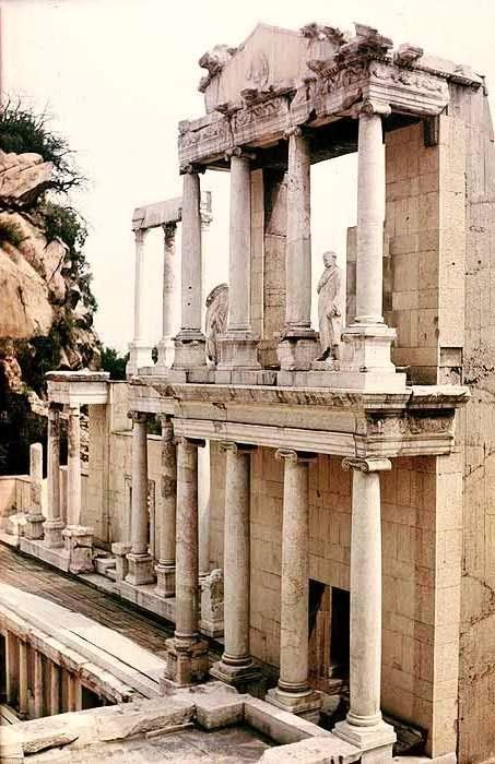 The ancient Roman theatre of Philippopolis in the city center of Plovdiv (ancient Philippopolis), Bulgaria.  According to a builders' inscription, discovered on the frieze-architrave of the eastern proskenion, the construction of the theatre dates back to