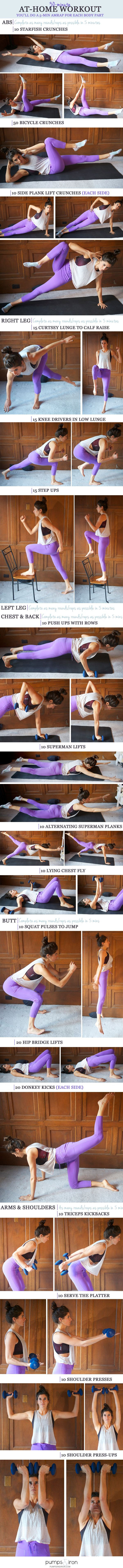 30-Minute At-Home Workout -- you'll spend 5 minutes on each body part: 30 Minute Full Body Workout, Full Body Workouts, Body Parts, At Home Workouts, Full Body At Home Workout, Work Out, Ab Workouts, Athomeworkout, 30 Minute Workout