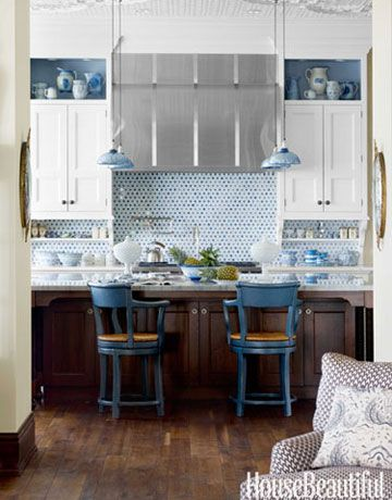 Designer Martin Horner chose blue mercury-glass pendants from Gallery L7 to pick up the color theme and the home's exotic style.: Decor, Interior, Idea, Mercury Glass, Color, Kitchen Design, House, White Kitchens, Blue And White