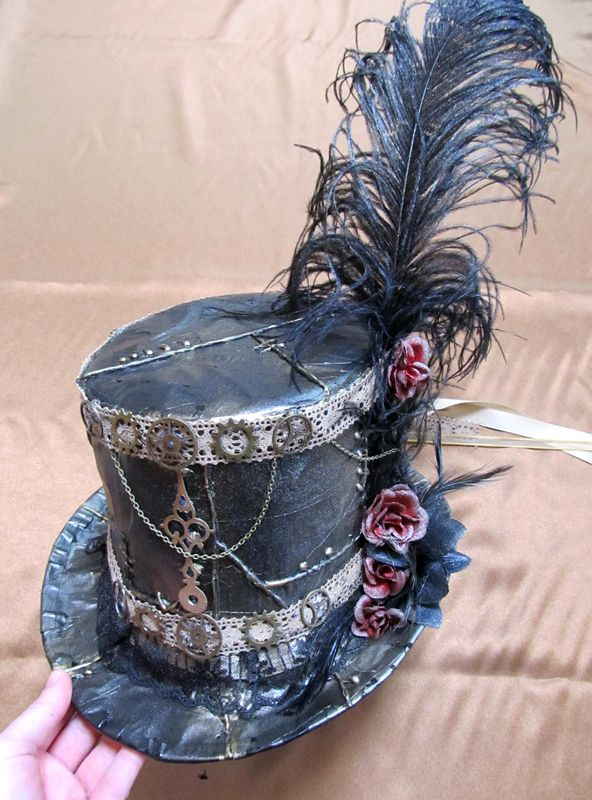 Diy Duct Tape Steampunk Top Hat. I would actually just do the top hat and not worry about the rest.: Duct Tape, Cupcake, Steampunk Top Hat, Diy Duct, Steam Punk, Top Hats, Steampunk Hat, Mad Hatter, Tape Steampunk