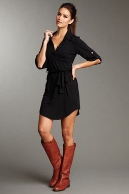I love this dress...perfect for any day and perfect for teaching with leggings and a scarf!: Shirtdress, Style, Outfit, The Dress, Dress Boots, Brown Boots, Fall Winter, Black Dress