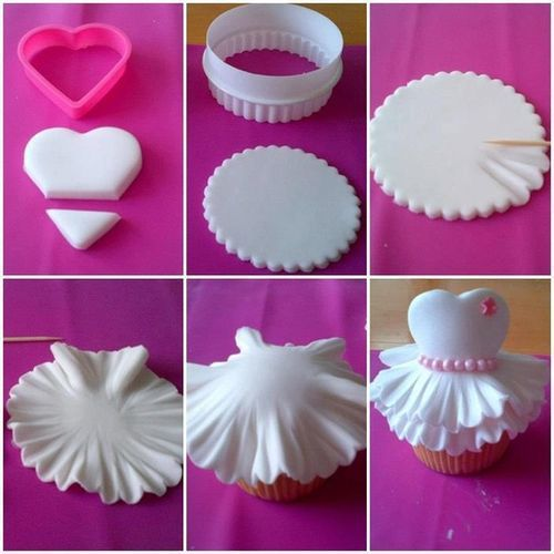 wedding dress cupcakes, If I had skills, I'd totally make these for your bridal shower: Cup Cakes, Ideas, Sweet, Food, Tutorial, Cupcake Idea, Cake Decorating, Dress Cupcakes
